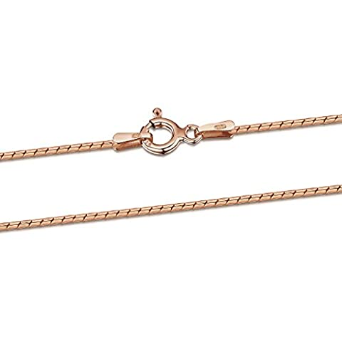 Amberta 925 Sterlingsilber Roségold 14K Damen-Halskette - Runde Venezianerkette - Schlangenkette - 1 mm Breite - Verschiedene Längen: 40 45 50 55 60 cm (55cm)