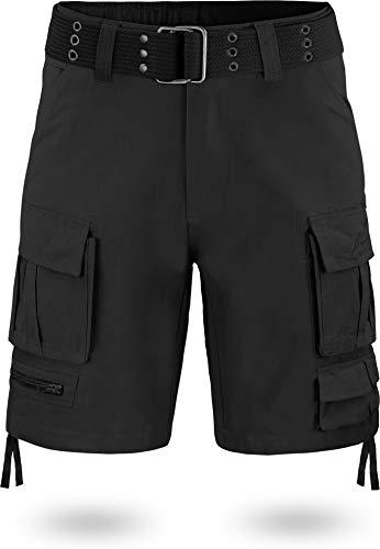 normani Herren Bermuda Vintage Shorts Cargoshorts mit Gürtel aus ökologischer Bio-Baumwolle Farbe Schwarz Größe S/48 (Gürtel Herren 48 Größe)