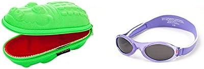 Bebé regalo, gafas de sol, verde Cocodrilo y Babybanz gafas de lila flores, 0-2años