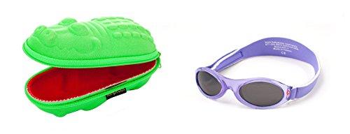 Babybanz 0 bis 2 Monate Sonnenbrille, Lila Blume und ein Yoccoes Sonnenbrille Fall - Grünes Krok