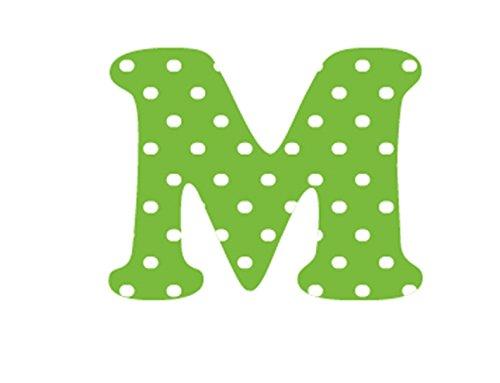 Bambinella® Buchstabe zum selbst Aufbügeln aus Velour/Flock gedruckt - grün mit weißen Punkten - Höhe: ca. 2,5 cm - Made in Germany (Weiß Buchstaben Shirt)