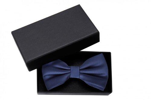 Fabio Farini elegante, dunkelblaue Herren Fliege, vorgebunden, 12 x 7 cm (Clip Tie Bow)