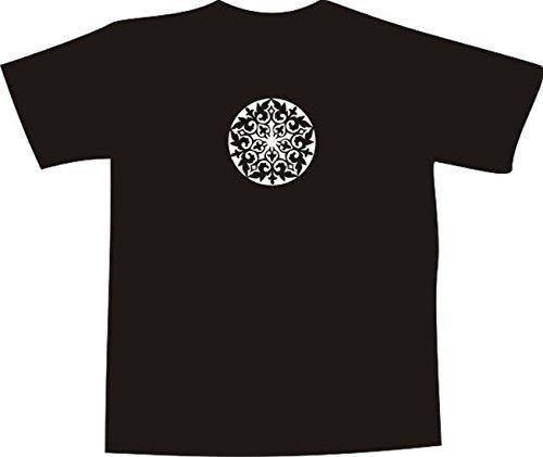 T-Shirt E1127 Schönes T-Shirt mit farbigem Brustaufdruck - Logo / Grafik / Design - abstraktes Ornament mit schönen Ranken und Blättern Weiß
