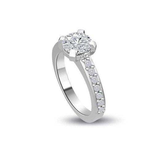 0,40 quilates H/SI1 Anillo solitario de compromiso de diamante para mujer con Redonda diamantes en 18k Oro blanco