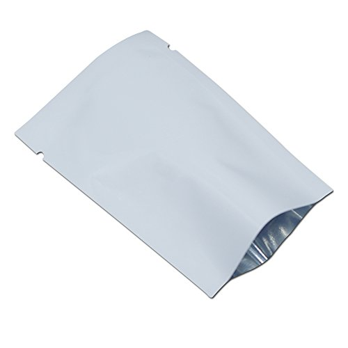 500 Stück Aluminumfolie Taschen Vakuum Heißsiegel Alufolie Mylar Tüten Klein Geschenk Verpacken Lebensmittel Nuss Essen Süßigkeiten Verpackung Beutel Weiß Farbe Mylar Taschen 7x10cm (2.7