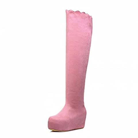 The slope with thick suede thigh boots lace high-heeled boots long canister bottom girl,Pink,36