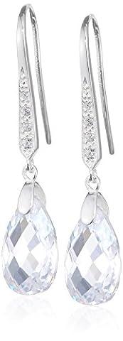 Elements Silver Ladies' Teardrop Sterling Silver Hook Earrings with Clear CZ's - Links Of London Gioielli