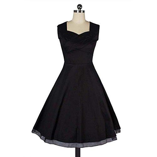 Damen Vintage Petticoat Kleid ~ 50er Jahre Kleid ~ Schwarz - 3