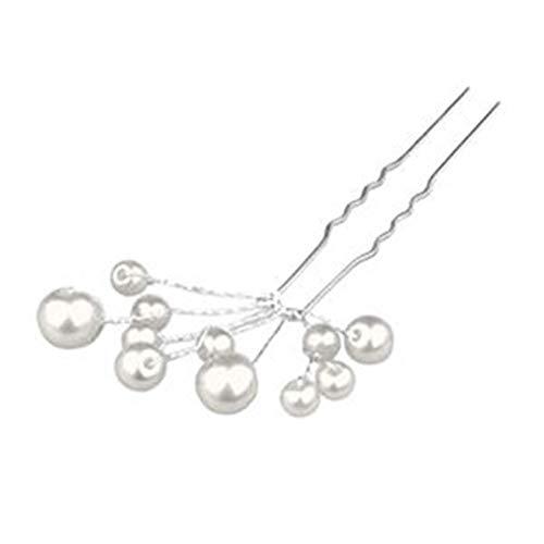 Künstliche Perlen White Bobbin Haarnadeln Cluster Clips Kamm Stirnband Clips Prom Hochzeit Brautjungfern -