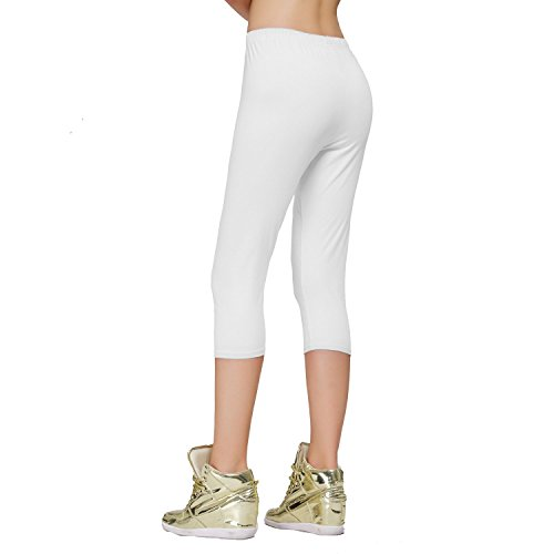 DIAMONDKIT Cotton Stretch Capri Leggings Damen Crop gesäumt Weiß