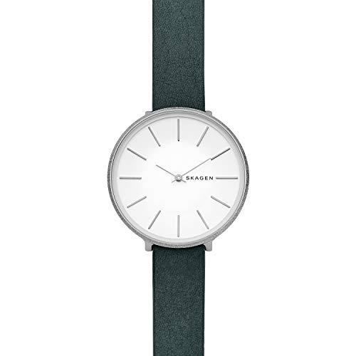 Skagen Damen Analog Quarz Uhr mit Leder Armband SKW2724
