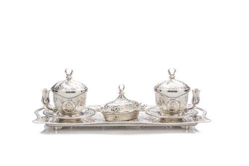11 teiliges Espressotasse Latte türkisch-osmanischen Stil Kaffee Service Set für 2 Personen (2 Porzellantasse, 2 Becherhalter, 2 Deckel, 2 Unterteller, ein Tablett, 1 Zuckerbecher und Deckel) im Geschenkkarton -