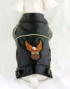 Vêtement/Manteau cuir aigle noir XS pour chien