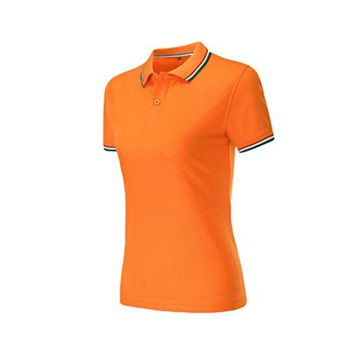 Zkoo polo donna manica corta polo magliette slim polo shirts in cotone sport tennis t shirt tops polo da donne arancia