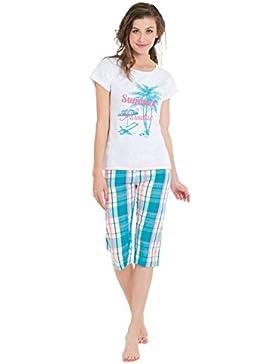 Pigiama Donna Pinocchietto e T Shirt 100% Cotone Melissa Brown 2 Colori