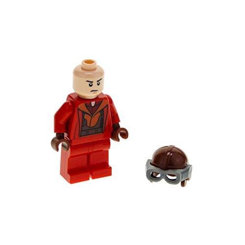 1 x Lego System Figur Star Wars Episode 1 Naboo Fighter Pilot Kampfpilot Torso rot Overall Jumpsuit Flieger Mütze braun sw340