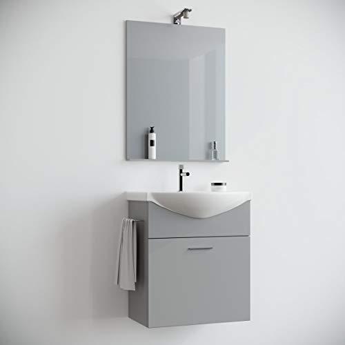 MarinelliGroup Mobile Bagno salvaspazio sospeso 60 Grigio con lavabo Ceramica Specchio e Luce. Papavero