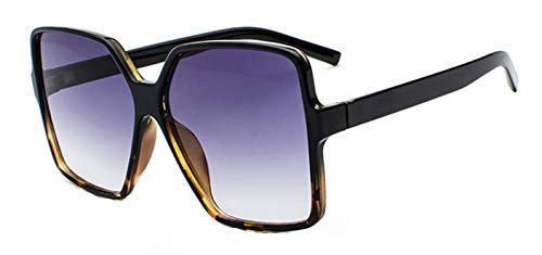 NauyGnol Übergroße quadratische Sonnenbrille für Damen, doppelte Farben, Rahmen mit Farbverlauf Gr. Einheitsgröße, Black Leopard Grey