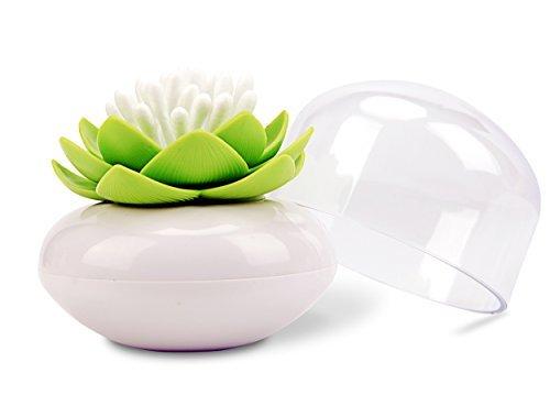 Bloss q-Tips Halter Baumwolle Ball/Tupfer Organizer Lotus Form Swab Kosmetik Speicherung und Zahnstocherhalter, grün