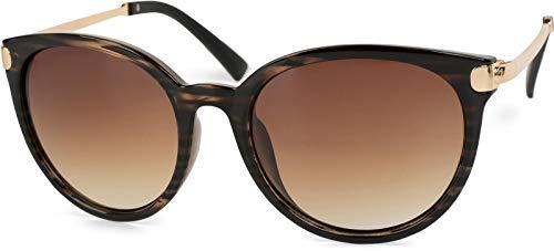 styleBREAKER occhiali da sole con lenti cat eye occhi di gatto e ponte metallo lente forma tonda da donna 09020073