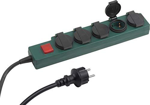 Meister Steckdosenleiste 5-fach - 1,4 m Kabel - Gummischlauchleitung - IP44 Außenbereich - Schalter / Verteilersteckdose / Feuchtraum-Steckdosenverteiler / Outdoor-Steckdosenleiste / 7430920