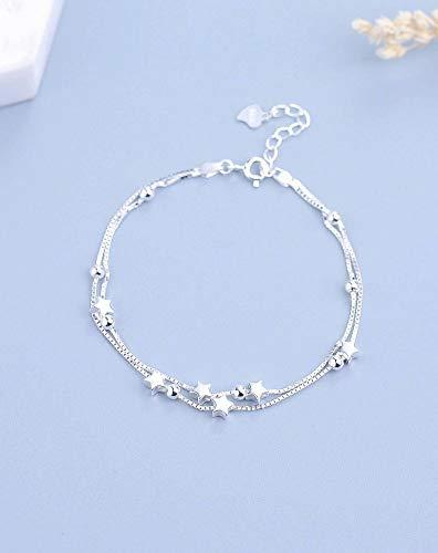 Katylen Frauen Fußkettchen S925 Silber Multi-Layer-Fußkettchen Weibliche Mode Sterne Süße Doppelschicht Perlen Fußkette Einfach Frisch Wild, 925 Silber