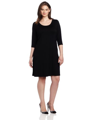 karen-kane-plus-size-3-4-sleeve-a-line-dress-black-2x