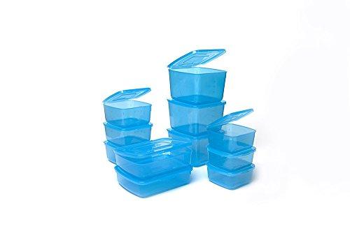 Everlid - set di 11 contenitori in plastica per alimenti con coperchio incorporato blu