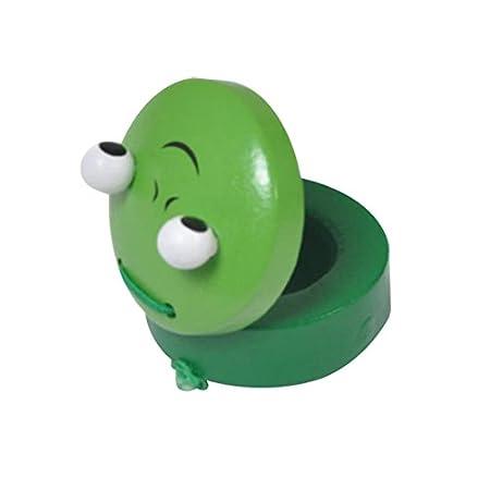 BIGBOBA 1PCS Rund Holz Tier Kastagnetten Toys Frühe Bildung Musikinstrument Spielzeug Geschenk für Baby Kinder Grün 4.8 * 4.8 * 2.5 cm