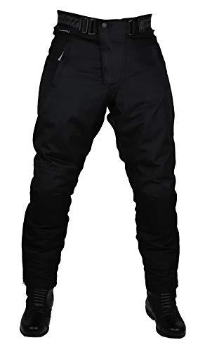 Schwarze Motorradhose in Kurzgröße XL mit herausnehmbarem Thermofutter, Protektoren und Weitenverstellung, für Sommer und Winter