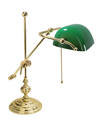 Lampada da tavolo Ministeriale Vetro Verde in Ottone MADE IN ITALY