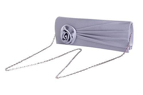 Heyjewels Blumen Clutch Hochzeitstasche Abendtasche mit Abnehmbarer Tragekette Viele Farben Silbrig