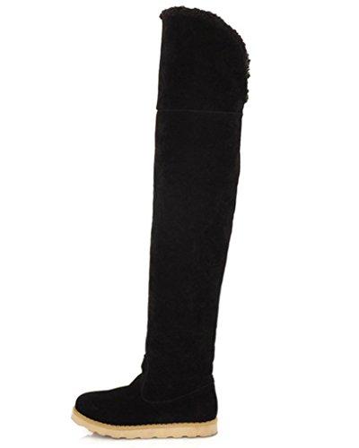 Minetom Damen Herbst Winter Warm Schneestiefel Mode Über Knie Lange Stiefel Plattform Schuhe Schwarz EU 38 (Erwachsene Schwarz Plattform Stiefel)