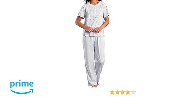 50776b1d78df Ladies Luxury 100% Cotton Summer Round Neck Button Up Short Sleeve Pale Blue  Printed Pyjamas Size 10 to 12  Amazon.co.uk  Clothing