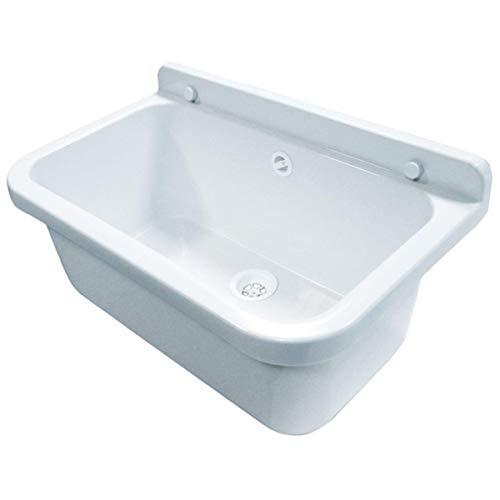Waschbecken Ausgussbecken 55 cm x 34 cm x 21 cm Spülbecken Waschtrog mit Überlauf Waschbecken für Gewerbe Waschraum Garten inkl. Ablaufgranitur (Kleine Kunststoff-waschbecken)