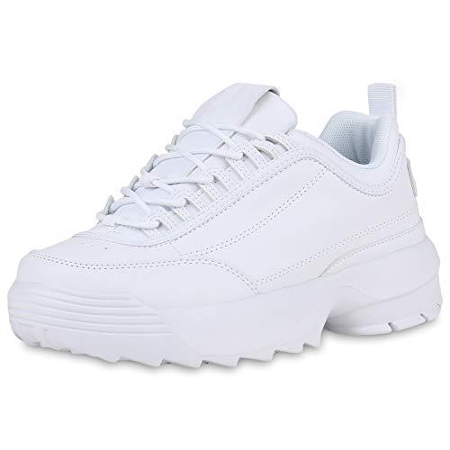 SCARPE VITA Damen Plateau Sneaker Chunky Turnschuhe Schnürer Leder-Optik Schuhe Profilsohle Freizeitschuhe 181515 Weiss Weiss 39 (Leder Plattform Sneakers Weiß)