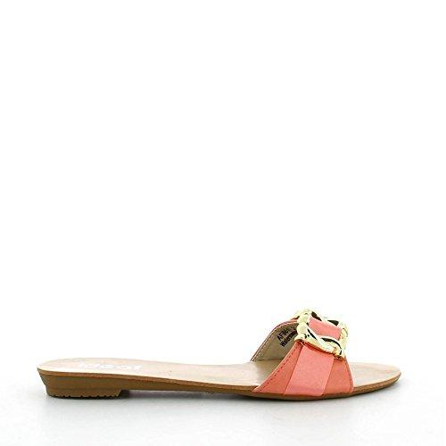 Ideal Shoes - Mules bi-matière décorée dune chaîne Rosy Rouge