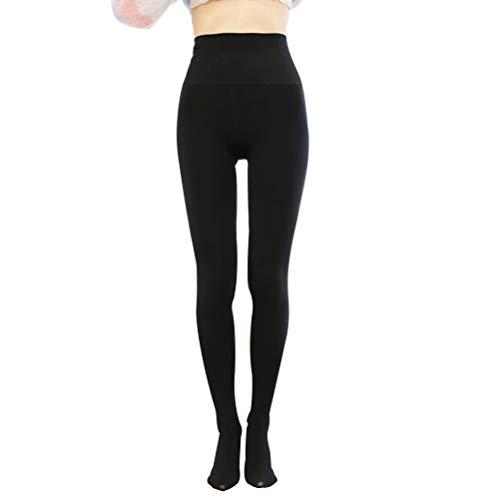 SJZC Leggins Donna Leggings Termici Invernali Pantaloni Fitness Modellante Legins Legghins006,Black,One-Size