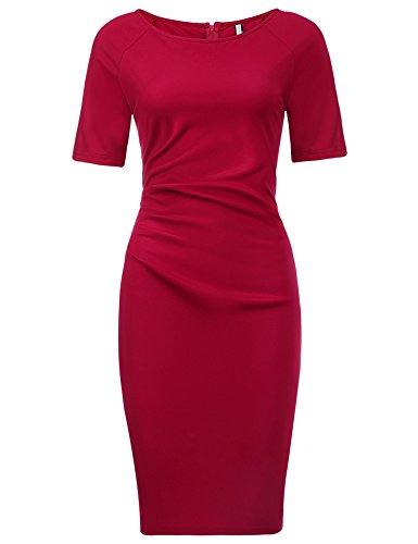 Parabler Damen Rundhalsausschnitt Wickelkleid Bleistiftkleid Etuikleid Ärmellos Knielang Abendkleid Business Kleid
