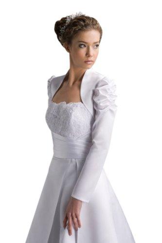 Bolero giacca in raso con maniche lunghe per la sposa per il matrimonio (E102) natur
