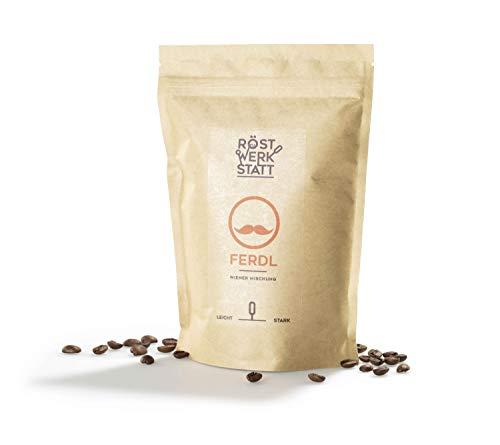 Röstwerkstatt® Kaffee Ferdl Wiener Mischung, Handgeröstete Premium Arabica Robusta Kaffeebohnen, Fair & Direkt gehandelt, mittlere Fruchtsäure, ganze Bohne