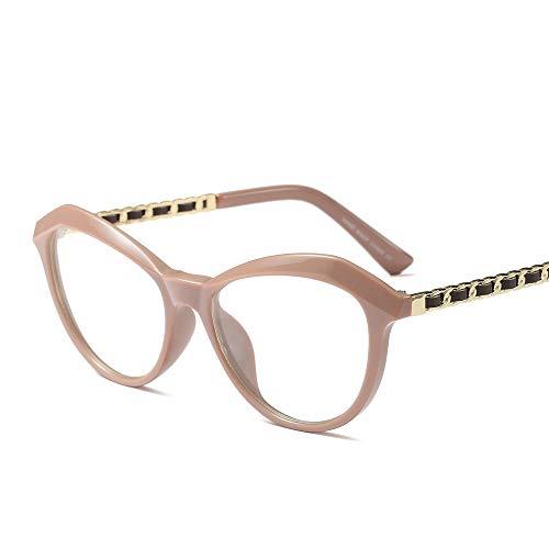 Myopie-Brillengestell, Retro-rundes Gesicht Full Frame Clear Lens Brillen Brille (Farbe : Khaki)