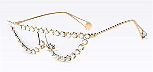 Klassische Sportsonnenbrille, Luxury Crystal Rhinestone Cat Eye Sunglasses Women Fashion Half Frame Clear Pink Blue Yellow Shades