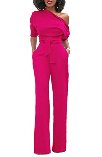 KISSMODA Frauen Overall Formale Celebrity Style One Shoulder Langer Länge Hosen Overalls Rose Red Medium
