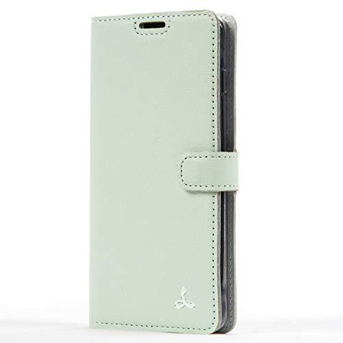 SnakeHive Custodia Samsung Galaxy S10 Plus Color Pastello Compact di Custodia a Portafoglio in Pelle Nubuck con Fessura per Carte di Credito e Banconote (Verde)