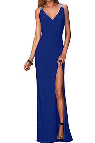 Donne Ivydressing v-scollatura sessualmente fessura Chiffon vestito lungo Promkleid vestito da partito di sera blu royal
