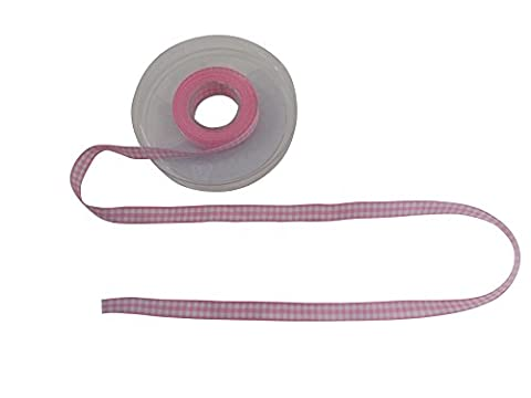 Gingham Check Light Pink White Ribbon 10mm Sold In Two Metre Lengths