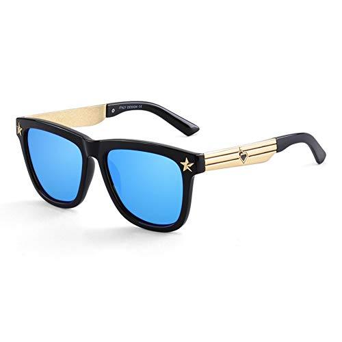 Yuany Sonnenbrille Goggle Ms Men Round Face Runde Box Classic Retro Polarized Light Sonnenschutz Anti-UVA Anti-UV 100% (Farbe: Blau)