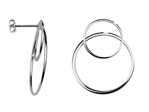 SOFIA MILANI Damen Ohrringe Ohrstecker Kreis Groß Silber 20628 - Silber Kreise