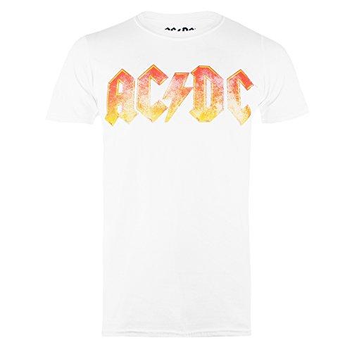 AC/DC Herren T-Shirt Gradient Logo Weiß